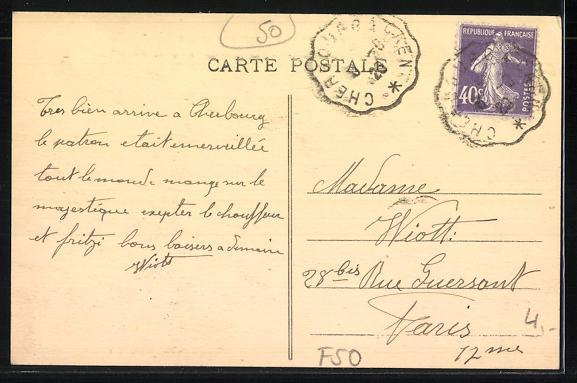 AK Cherbourg, le Pont Tournant et Rue du Val-de-Sair, Strassenbahn 1