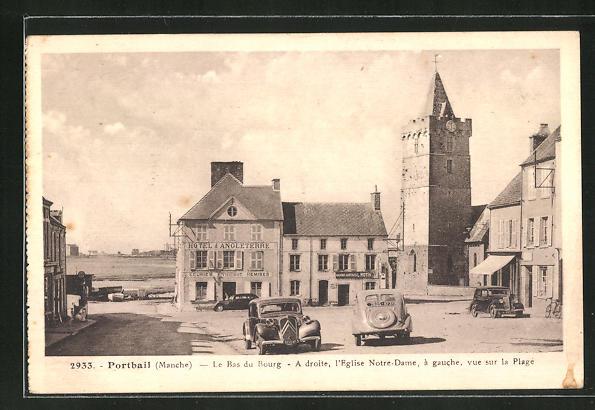 AK Portbail, La Bas du Bourg, A droite, l'Eglise Notre-Dame, Hotel d Angleterre 0
