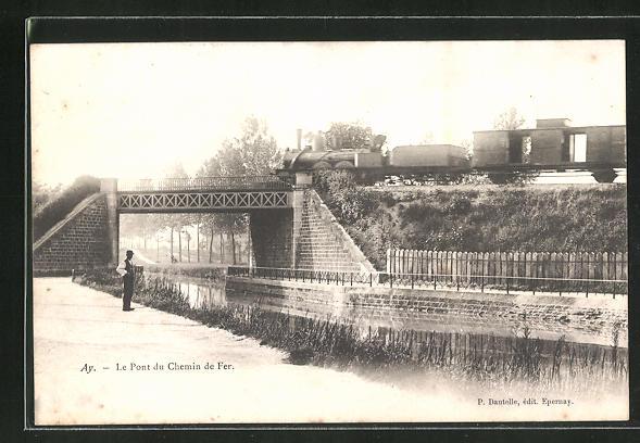 AK Ay, Le Pont du Chemin de Fer, Eisenbahn 0