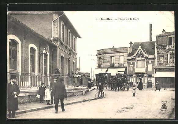 AK Houilles, Place de la Gare, Pferdekutsche 0