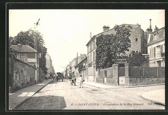 AK Saint-Cloud, Perspective de la Rue Gounod