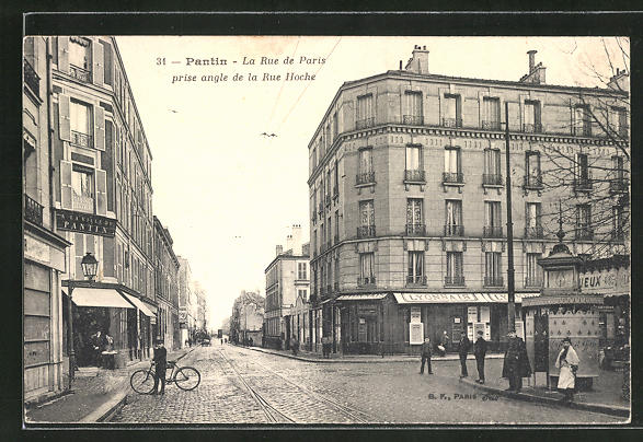 AK Pantin, La Rue de Paris prise angle de la Rue Hoche
