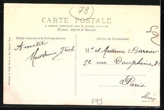 AK Pierrefitte, La Rue de Paris, La mairie, Strassenbahn 1