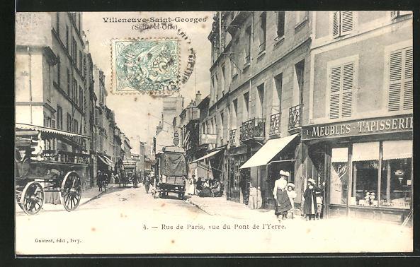 AK Villeneuve-Saint-Georges, Rue de Paris, vue du Pont de l'Yerre