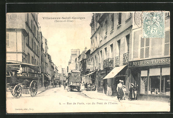 AK Villeneuve-Saint-Georges, Rue de Paris, vue du Pont de 'Yerre 0
