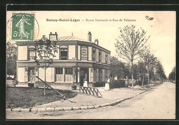 AK Boissy-Saint-Léger, Route Nationale et Rue de Valenton 0