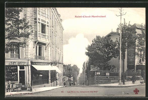 AK Saint-Cloud-Montretout, La Rue du Chemin-de-Fer
