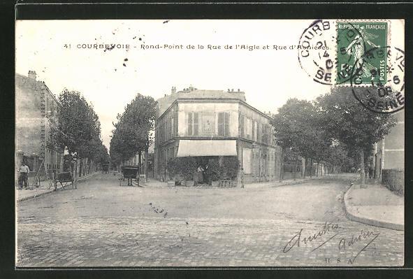 AK Courbevoie, Rond-Point de la Rue de l'Aigle et Rue d'Asnieres