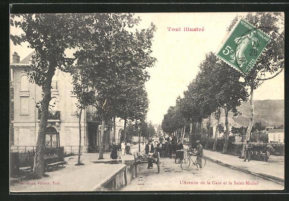 AK Toul, L'Avenue de la Gare et le Saint-Michel 0