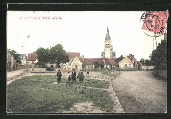 AK Evreux-Navarre, Ortsansicht mit Kirche 0