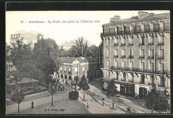 AK Asniéres, La Poste, vue prise de l'Hotel de Ville 0