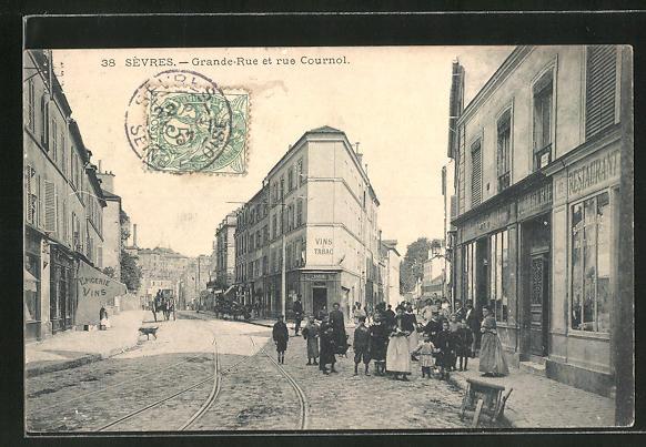 AK Sévres, Grande-Rue et rue Cournol 0