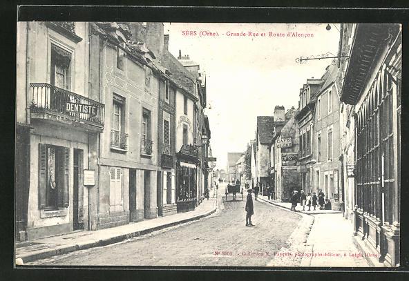 AK Sées, Grande-Rue et Route d'Alencon