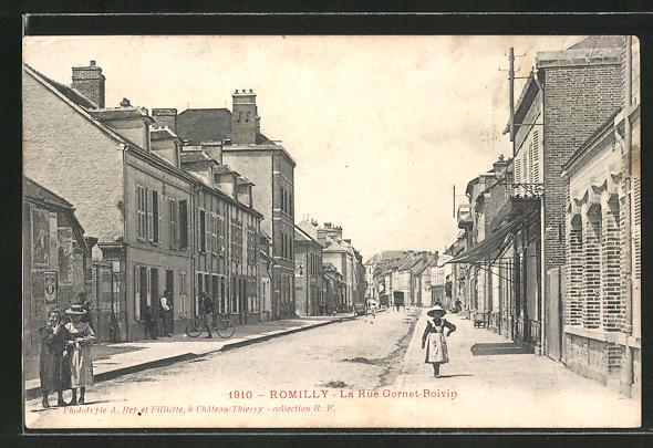 AK Romilly, La Rue Gornet-Boivin, Strassenpartie 0