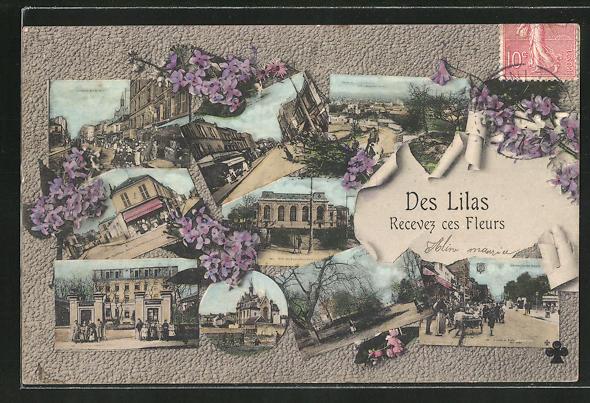 AK Des Lilas, REcevez ces Fleurs, Strassenpartien und Gebäudeansichten mit Blumenverzierung 0