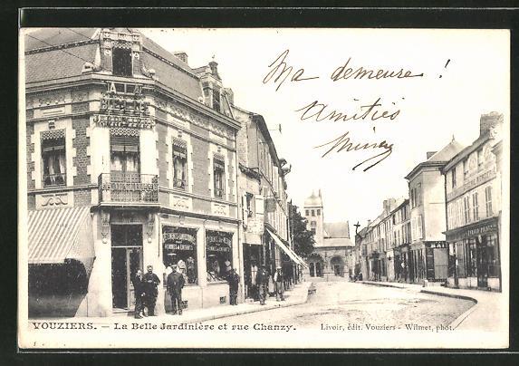 AK Youziers, La Belle Jardiniére et rue Chanzy 0