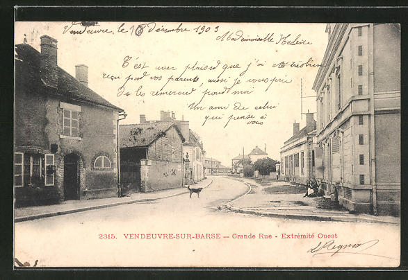 AK Vendeuvre-sur-Barse, Grande Rue, Extremite Ouest 0