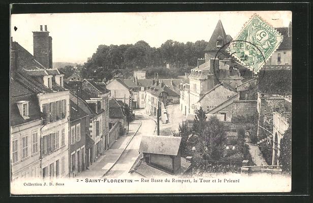 AK Saint-Florentin, Rue Basse du Rempart, la Tour et le Prieuré 0