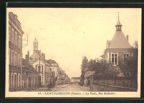 AK Saint-Florentin, La Poste, Rue Bedbeder 0