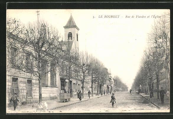 AK Le Bourget, Rue de Flandre et l'Eglise 0