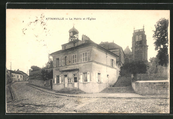 AK Attainville, La Mairie et l'Eglise 0