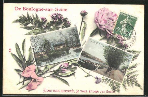 AK Boulogne-sur-Seine, Le Klosque et les Jardins, Les Bords de la Seine 0