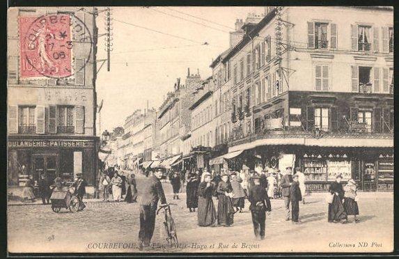 AK Courbevoie, Place Victor-Hugo et Rue de Bezons 0