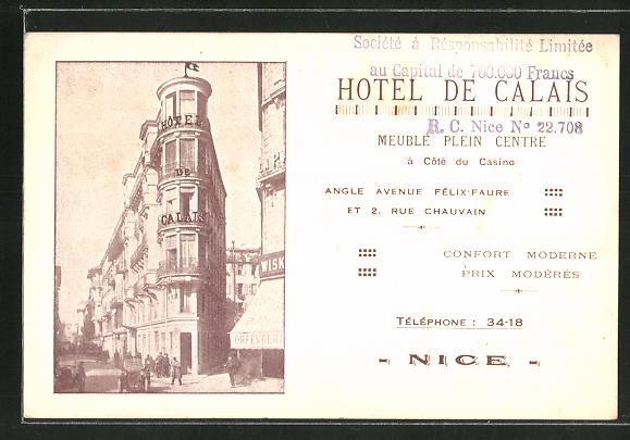 AK Nice, Hotel de Calais 0