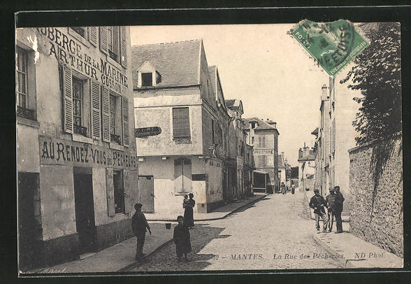 AK Mantes, La Rue des Pecheries 0
