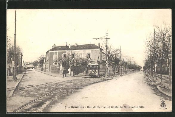 AK Houilles, Rue de Bezons et Route de Maisons-Laffitte 0