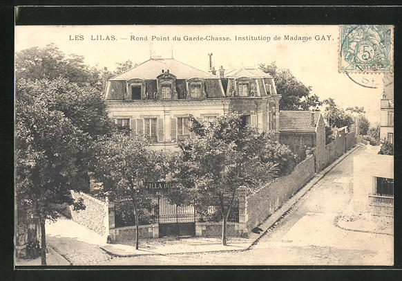 AK Les Lilas, Rond Point du Garde-Chasse, Institution de Madame Gay