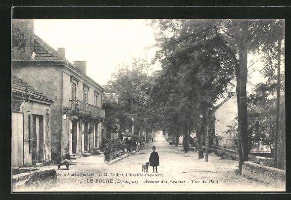 AK Le Bugue, Avenue des Acacias, Vue du Pont 0