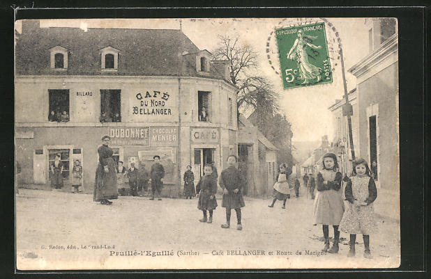 AK Pruillé-l'Eguillé, Cafe Bellanger et Route de Marigne 0
