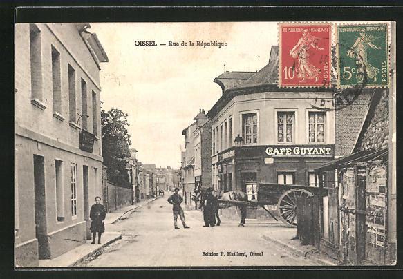 AK Oissel, Cafe Guyant, Rue de la République 0