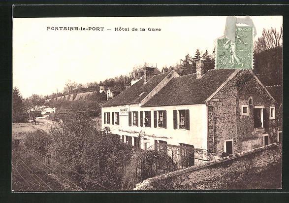 AK Fontaine-le-Port, Hotel de la Gare 0