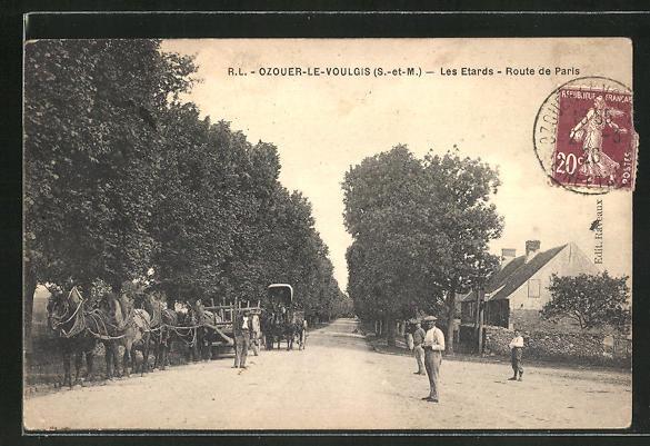 AK Ozouer-le-Voulgis, Les Etards, Route de Paris