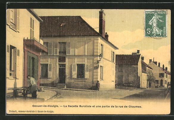 AK Ozouer-le-Voulgis, La Recette Buraliste et une partie de la rue de Chaumes