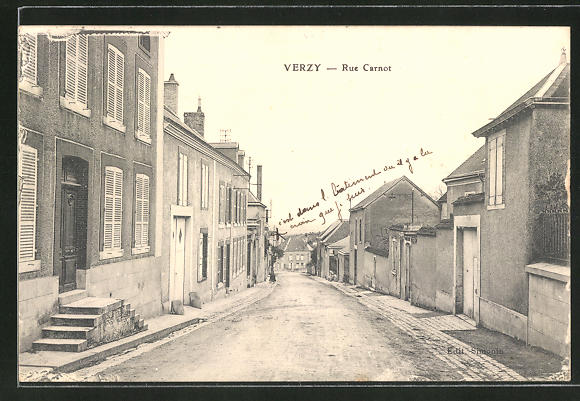 AK Verzy, Rue Carnot, Strassenpartie 0