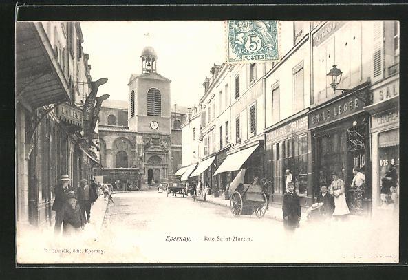 AK Epernay, Rue Saint-Martin, Strassenpartie mit Geschäften 0