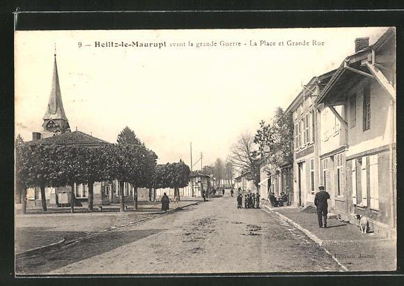 AK Heiltz-le-Maurupt, La Place et Grande Rue 0