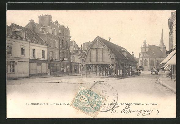 AK Saint-André-de-L'Eure, Les Halles, Strassenpartie im Ortskern 0