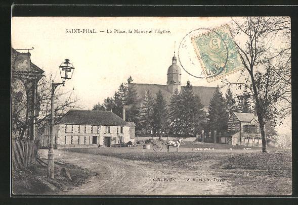 AK Saint-Phal, La Place, la Mairie et l'Eglise 0