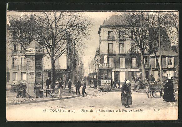 AK Tours, Place de la République et la Rue de Lariche, Strassenbahn 0