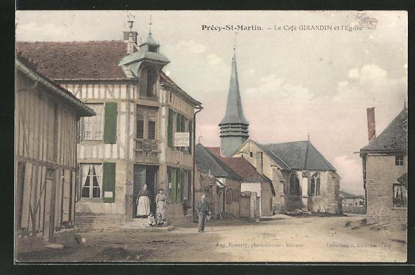 AK Précy-St-Martin, Le Cafe Girardin et l'Eglise 0