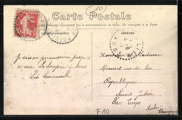 AK Précy-St-Martin, Le Cafe Girardin et l'Eglise 1