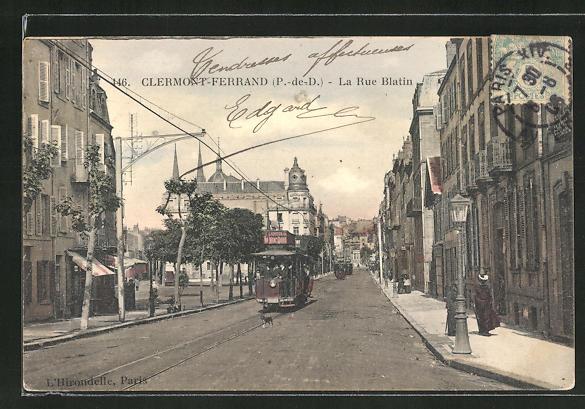 AK Clermont-Ferrand, La Rue Blatin, Strassenbahn 0