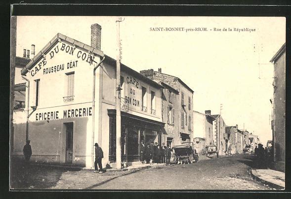 AK Saint-Bonnet-près-Riom, Cafe du Bon Coin, Rue de la République 0