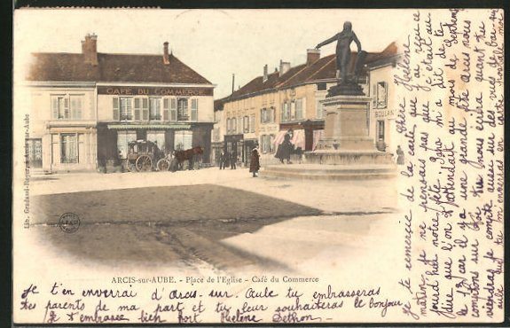 AK Arcis-sur-Aube, Cafe du Commerce, Place de l'Eglise