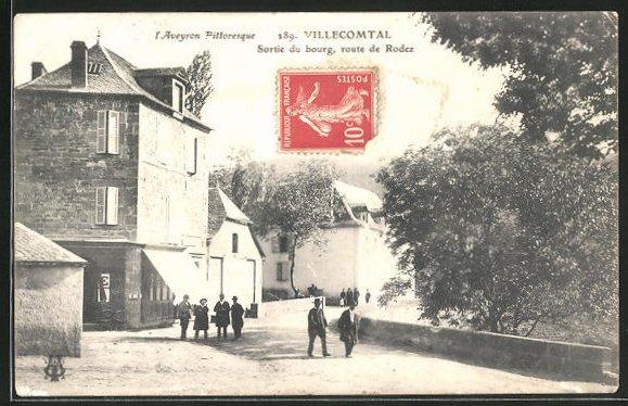 AK Villecomtal, Sortie du bourg, Route de Rodez