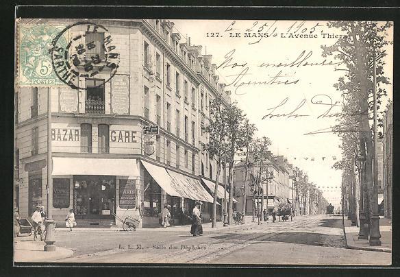 AK Le Mans, L'Avenue Thiers, Bazar Gare 0